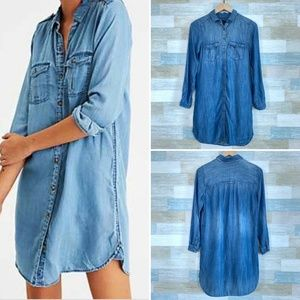 Chambray Utility Shirtdress Blue American Eagle